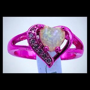 Jewelry - Pink Rhodium plated synthetic opal and quartz ring